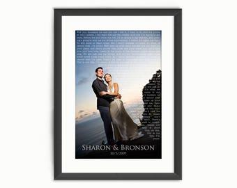 Wedding Song Lyrics Photo Print or Vows Names & Date - Custom Personalised Wedding Art - Anniversary/Valentine's Day Gift - Digital Download