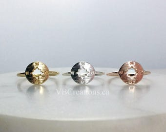 Compass Ring - Compass Jewelry - Geography - Traveler Jewelry - Travel - Silver - Gold - Pink Gold - Dainty Ring - Sister Gift - BFF Gift