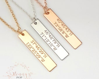 Coordinates Necklace - Coordinates Jewelry - Engraved Bar Necklace - Personalized Gift - Custom Jewelry - Bridesmaid Gift - Sister Gift -V30