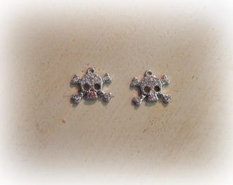 2 charms with silver rhinestone skull