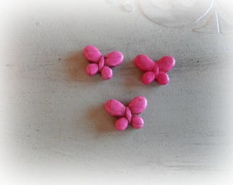 6 howlite Butterfly colored pink beads 19 * 15 mm