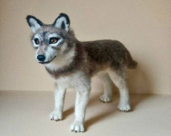 Needle Felted Realistic Grey Wolf. Wolf soft sculpture. Needle Felted Animal. Cute Young Wolf.