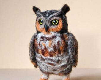 Owl Soft Sculpture. Needle Felted Owl. Cute Little Felted Owl. Needle Felted Animal. Felt Owl. Owl miniature.