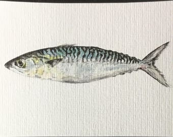 "Card postcard ""back to market"", fish, mackerel, original and unique watercolor, Rennes, Brittany"