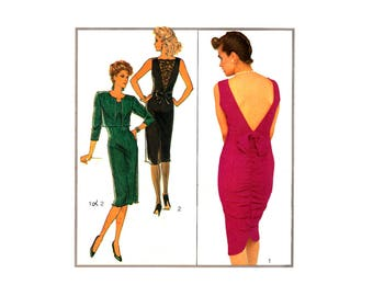 80s Style 4519 Fitted, Sleeveless Evening, Party, Formal Dress with Ruched, Deep V Back and Jacket, U/C, F/Folded, Sewing Pattern Size 8-12