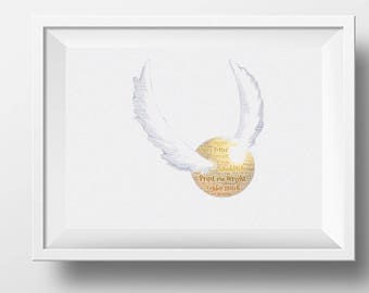 Framed word art made to resemble the golden snitch from harry potters quidditch Christmas, birthday, any occasion. Fully personalised