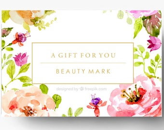 Pre-made Gift Card Template - Spa Gift Certificate - Boutique Gift Card - Custom Gift Card - Salon Gift Card Design - Floral - Gold Foil