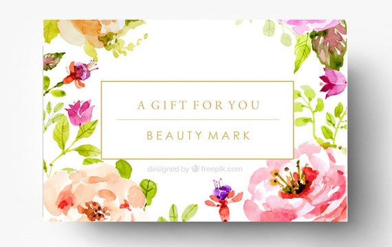 Pre made gift card template spa gift certificate boutique pre made gift card template spa gift certificate boutique gift card custom gift card salon gift card design floral gold foil yadclub Images
