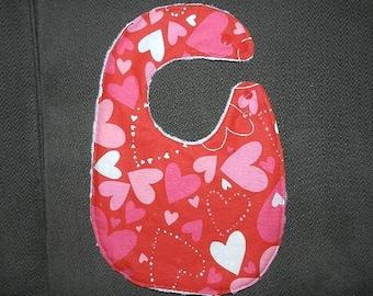 Reversible Valentine Baby Bib  Hearts with White Minky,  Baby, Drool, Feeding