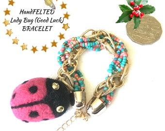 Coral Charm Bracelet, Lucky Charm Bracelet,Needle Felted Beaded Bracelet, Designer Bracelet, Original Art  Gift, Craft lovers gift