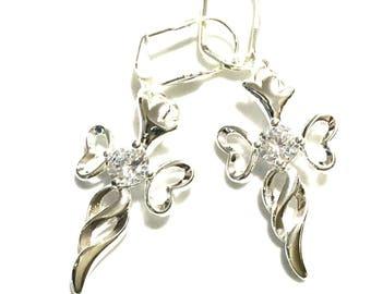 Stunning Angel Cross Earrings, Gift for Her, Cubic Zirconia Earrings, Silver Angel Earrings, On Trend Earrings, Silver Angel Cross Earrings