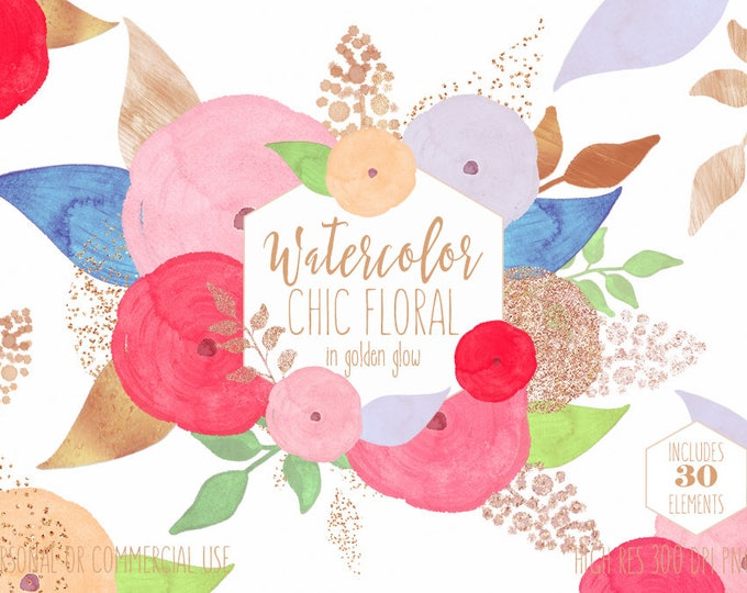 CHIC WATERCOLOR FLORAL Clipart Commercial Use Clip Art Pink & Rose Gold Watercolour Flowers Metallic Confetti Modern Wedding Invite Graphics