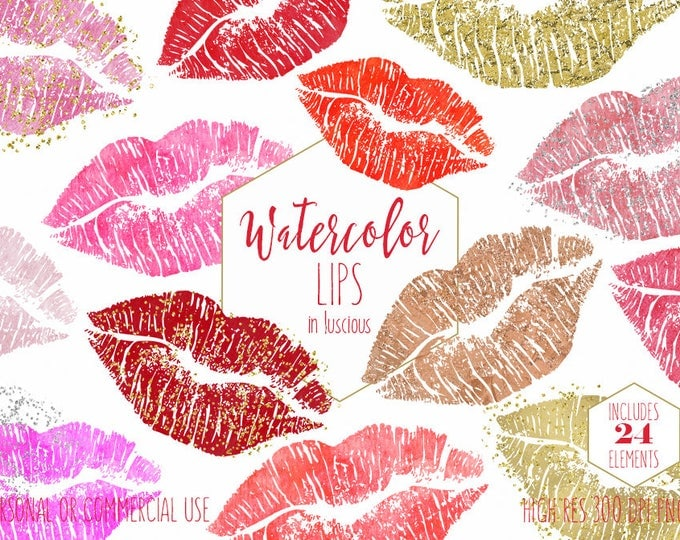 WATERCOLOR LIPS CLIPART Commercial Use Clip Art Valentine Kissing Lip Pink Red Rose Gold Confetti Lipstick Kiss Girly Makeup Smear Graphics