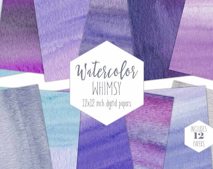 PURPLE WATERCOLOR Digital Paper Pack Commercial Use Backgrounds Lavender Scrapbook Papers Watercolour Wash Textures Ombre Waves Clipart