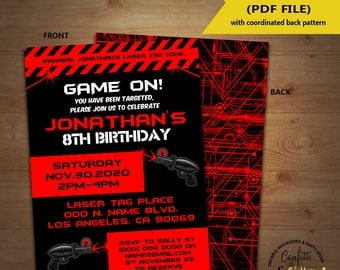 Laser Tag Birthday party invitation game on red laser tag invite lazer tag party invite YOU EDIT TEXT and print yourself invite 5906