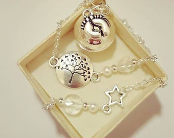 Pregnancy's Bola ball silver tree of life feet Swarovski heart and beads
