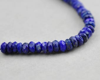 AA Faceted Lapis Lazuli Rondelle Beads