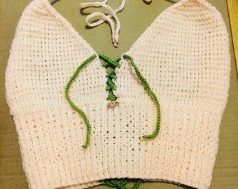 Hand knit pink rose bralette