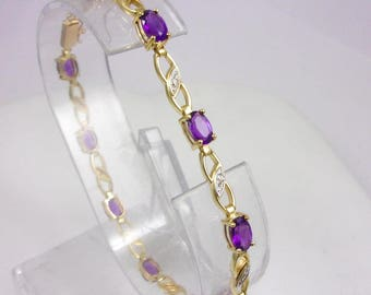 Solid 10K Yellow Gold 4.1 Carat Amethyst and Diamond Bracelet, 6.7 grams, 7.75""