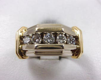 1955 Solid 14K White Gold 0.52 Carat Diamond Mens Ring 9.3 grams, Size 10.5