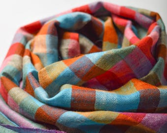 Pashmina Scarf Colorful Cheques