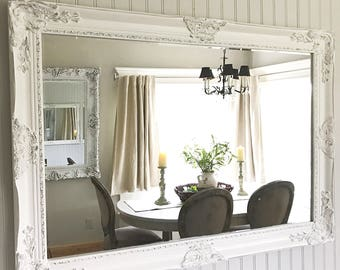 Distressed Mirror Shabby Chic Decor Large Bathroom White Farmhouse French