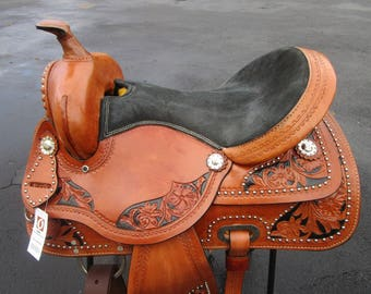 15 16 Barrel Racing Pleasure Silver Show Tooled Leather Horse Western Saddle
