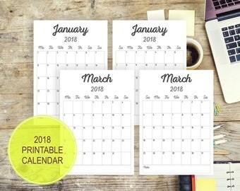2018 PRINTABLE Calendar  Wall  Editable Calendar Pages Monthly Desk Calendar Printable PDF Calender Printable digital year design download