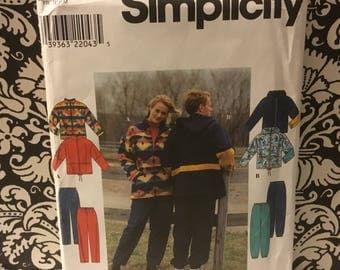 Vintage 1986 simplicity 8322 size AA xs-sm-med- men's and woman's and teens jacket and pants great for overlock serger