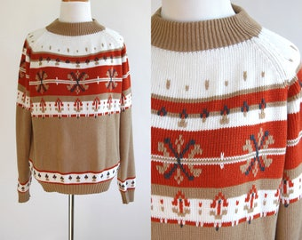 80s Winter Sweater - Christmas Sweater - Mock Neck - Fair Isle Sweater - Nordic - Beige Red and White - Holiday Sweater - Size Medium Large