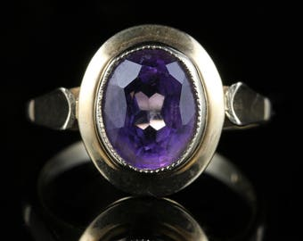 Vintage Amethyst Ring 9ct Gold