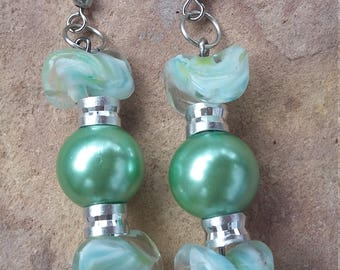 Beaded, handmade,elegant,modern,trendy,fashion,stylish,funky,party,holiday,dance,dangle drop earrings,green silver drops,stack earrings,
