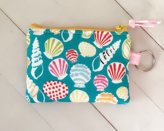 Seashell keychain coin purse coin pouch credit card wallet summer zipper pouch