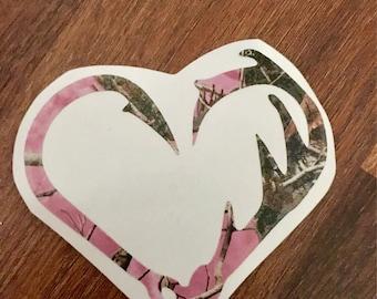 Hook and Antler Heart Camo Vinyl Decal