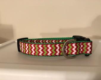 Christmas Chevron 1 inch Collar