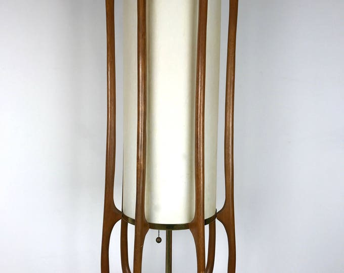 Pair of Mid Century Modern ADRIAN PEARSALL MODELINE Sculpted Wood Large Lamps