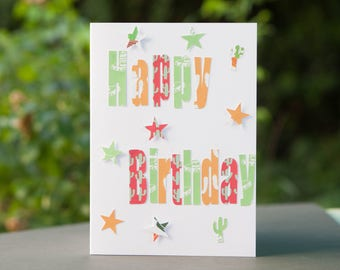 Happy Birthday Card - Cactuses, Sombreros and Stars.
