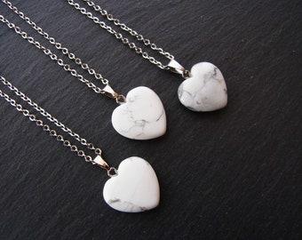 Howlite Heart Chakra Healing Pendant Necklace Healing Reiki Bohemian Necklace