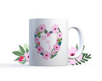 "Illustration ""Summer flowers initials"" Mug Special personalized wedding / love Nadja"