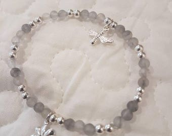 Grey matte agate and sterling silver, with lucky clover charm