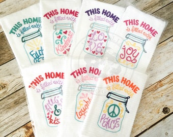Embroidered Mason Jar Hand Towel, Monogrammed Towel, Hand Towel Custom, Mason Jar, Embroidered Towel, Southern Hand Towel, Southern Home