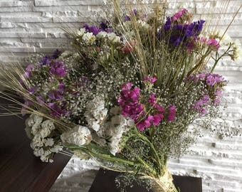 Dried flower bouquet, vase filler, dried statice, dried wild babies breath, dried wheat,natural home decor, dried flowers