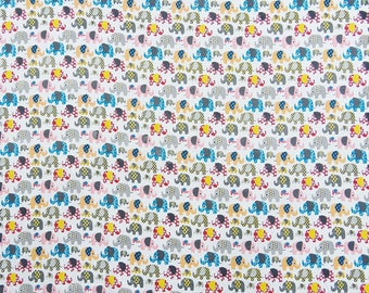 """White Fabric, Elephant Print, Quilt Material, Indian Cotton Fabric, 43"""" Inch Home Decor Fabric By The Yard ZBC8970B"""