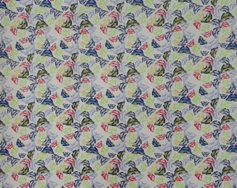 "Butterfly Print, Antique Fabric, Home Decoration, Sewing Crafts Fabric, 42"" Inch Cotton Fabric By The Yard ZBC9302A"