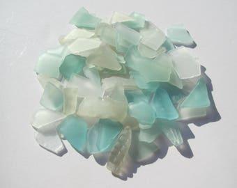 Bulk sea glass small white teal blue genuine 65 pcs real sea glass beach glass jewelry supply wedding glass natural beach wedding glass