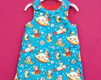 Dress // Girls Dress // A line starship and astronaut reversible dress // Reversible dress // red star dress // vintage space ships dress