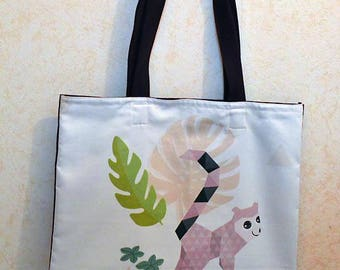 Summer lemur and purple cotton tote bag