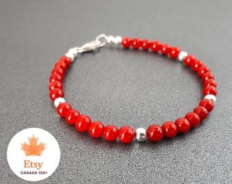 Canadian Pride: Red Bamboo Coral and Sterling Silver Canada 150 EtsyCA150+ Canada Day Bracelet
