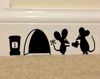 3D Funny Mouse Hole wall Art Vinyl stickers decal Stencil mural Novelty