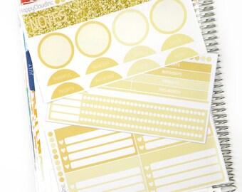 August '18 Notes Page Erin Condren Matte Kit Planner Stickers (77 stickers)
